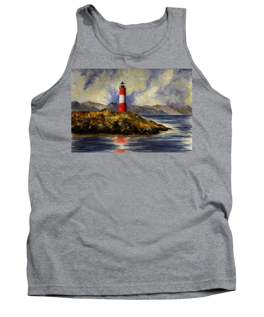 Lighthouse Tank Top featuring the painting Les Eclaireurs Lighthouse by Michael Vigliotti