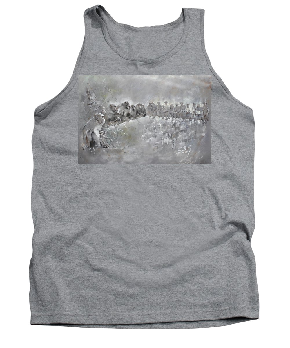 Fine Art Tank Top featuring the drawing Let's Talk... by Ylli Haruni