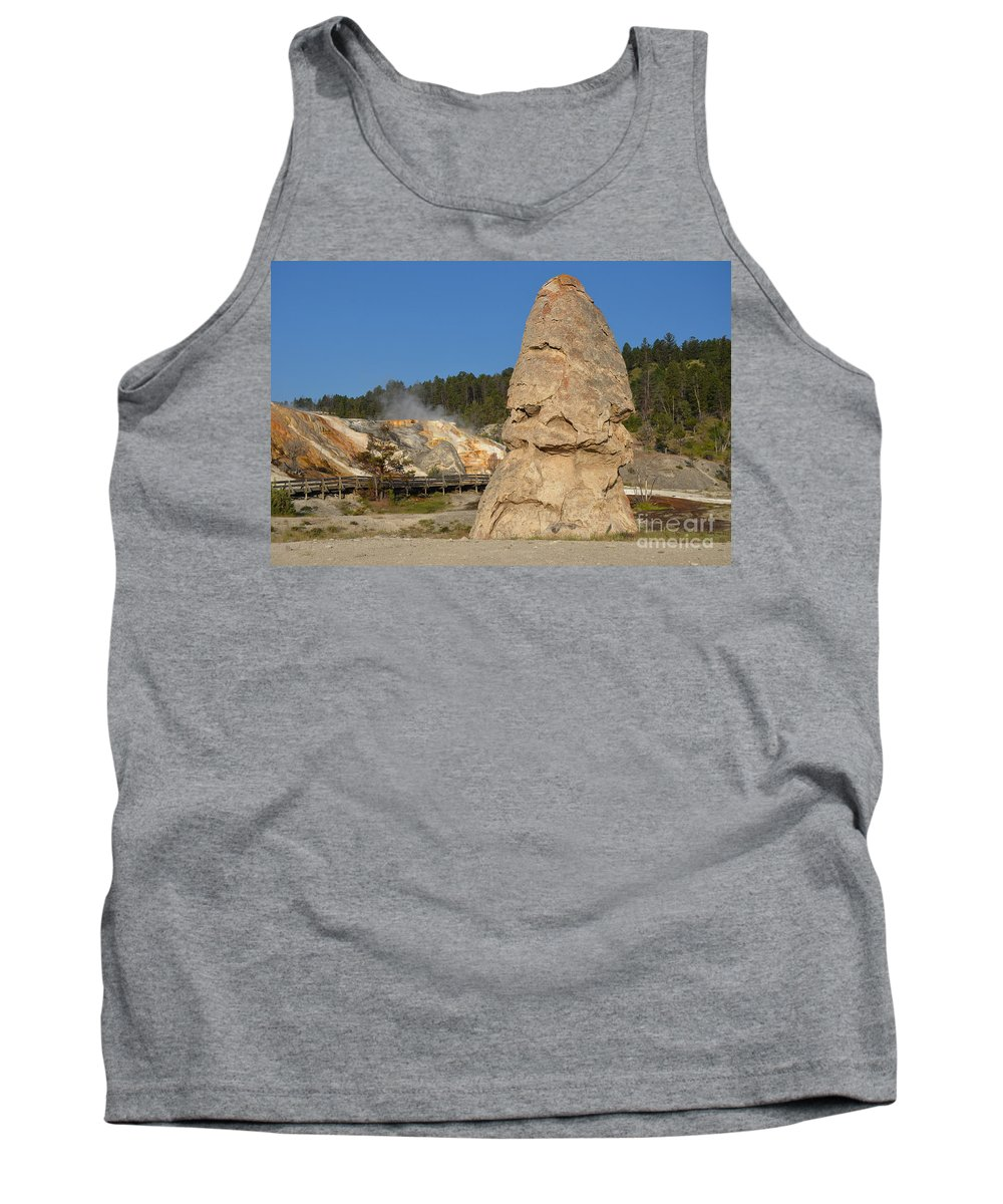 Liberty Cap Tank Top featuring the photograph Liberty Cap Hot Springs Cone At Mammoth Hot Springs Yellowstone National Park Wyoming by Shawn O'Brien