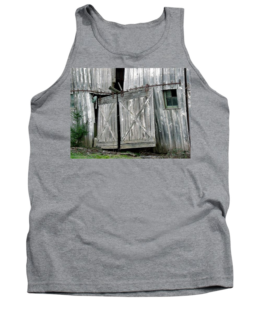 Barn Tank Top featuring the digital art Life Among The Ruins by RC DeWinter