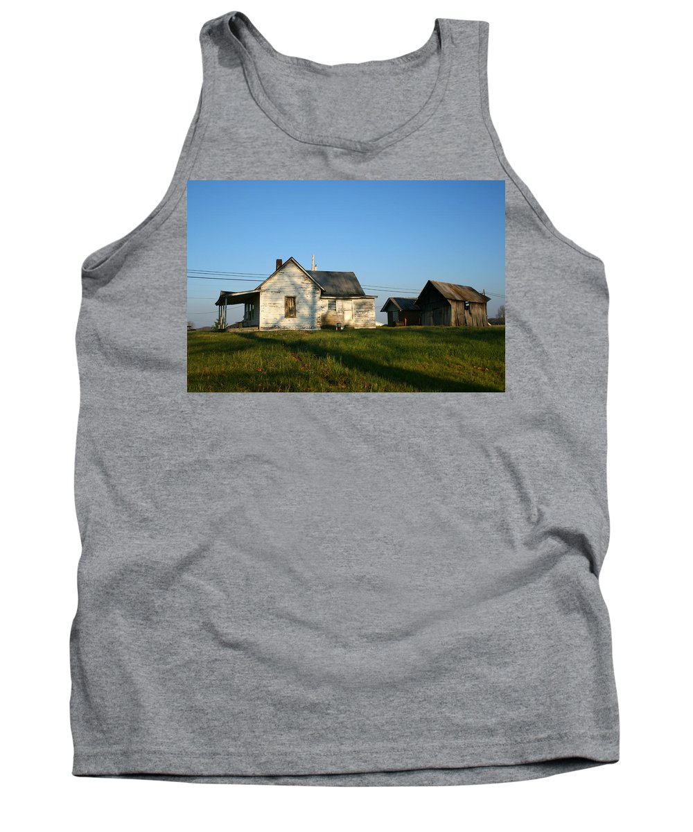 Old House Barn Life Past Age Forgotten Forget Time Left Leave Blue Green White Kentucky Ky Country Tank Top featuring the photograph Life Behind by Andrei Shliakhau