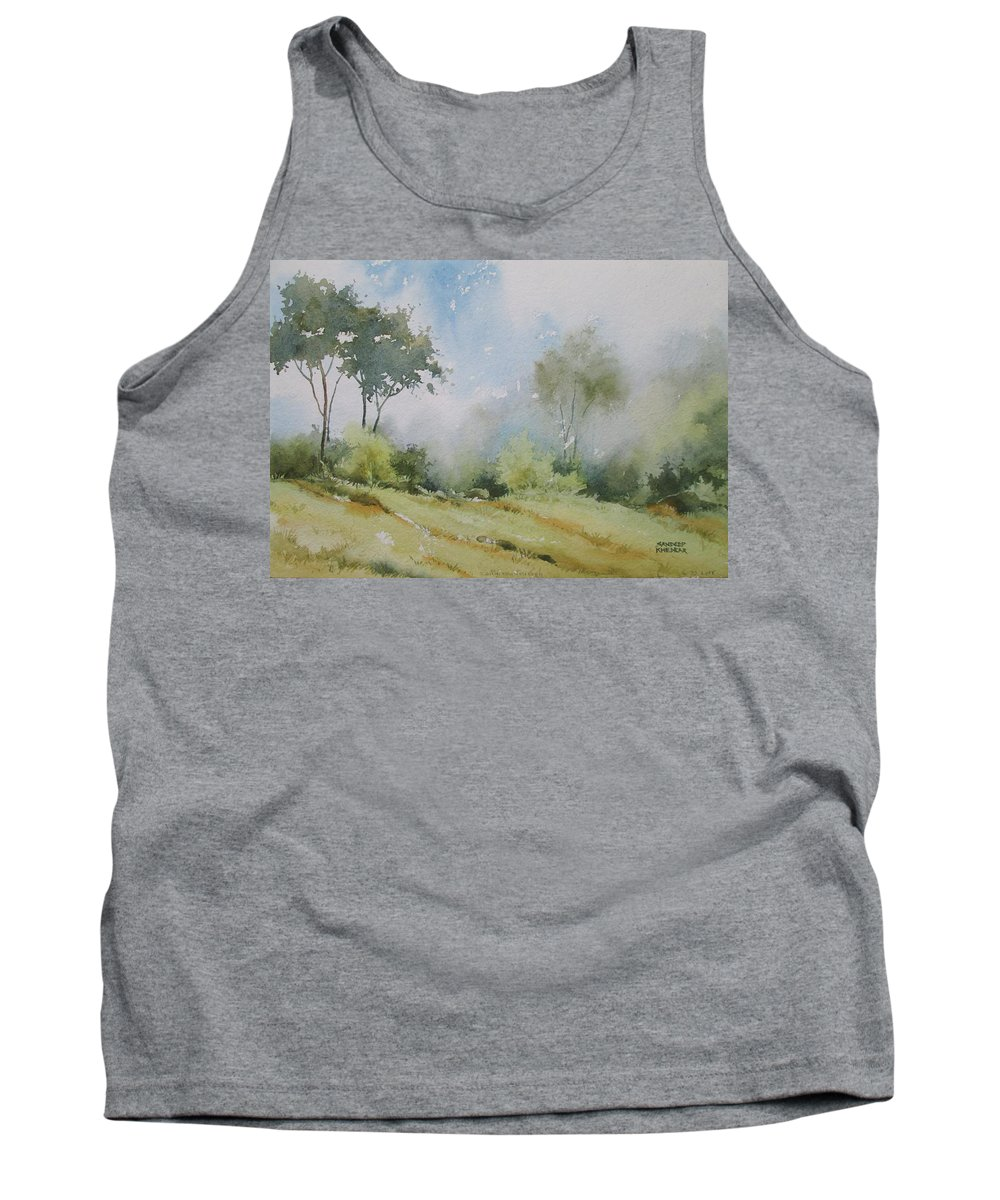 Landscapes Tank Top featuring the painting Life On The Edge by Sandeep Khedkar