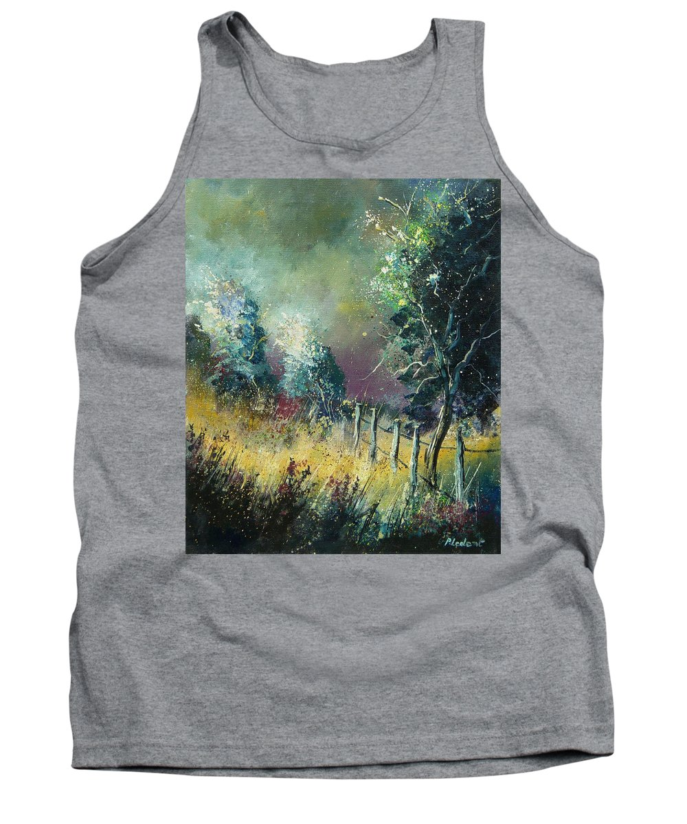 Landscape Tank Top featuring the painting Light on trees by Pol Ledent