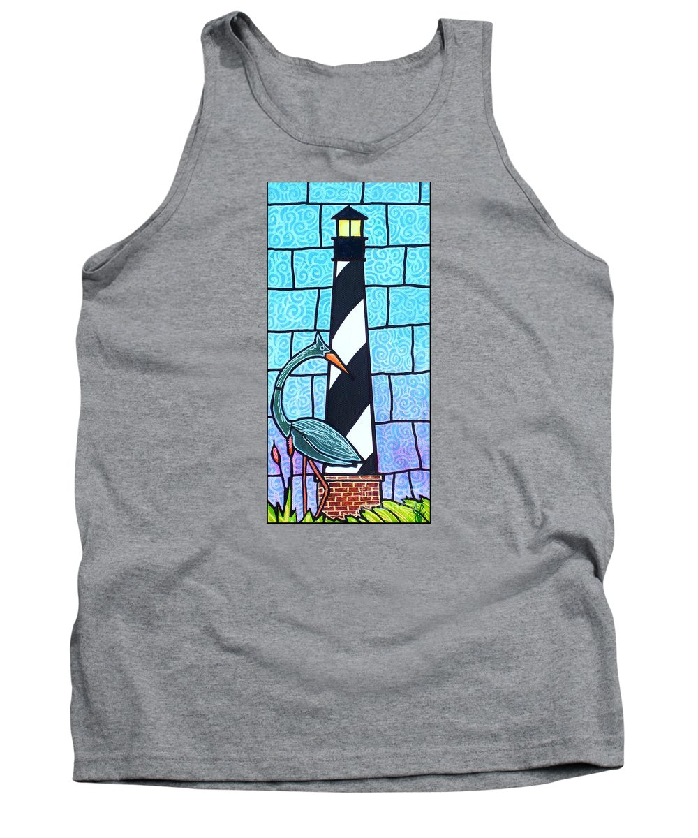 Summer Tank Top featuring the painting Lighthouse And Heron by Jim Harris