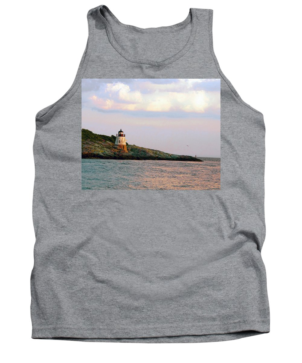 Lighthouse Tank Top featuring the photograph Lighthouse Castle Hill by Steven Natanson