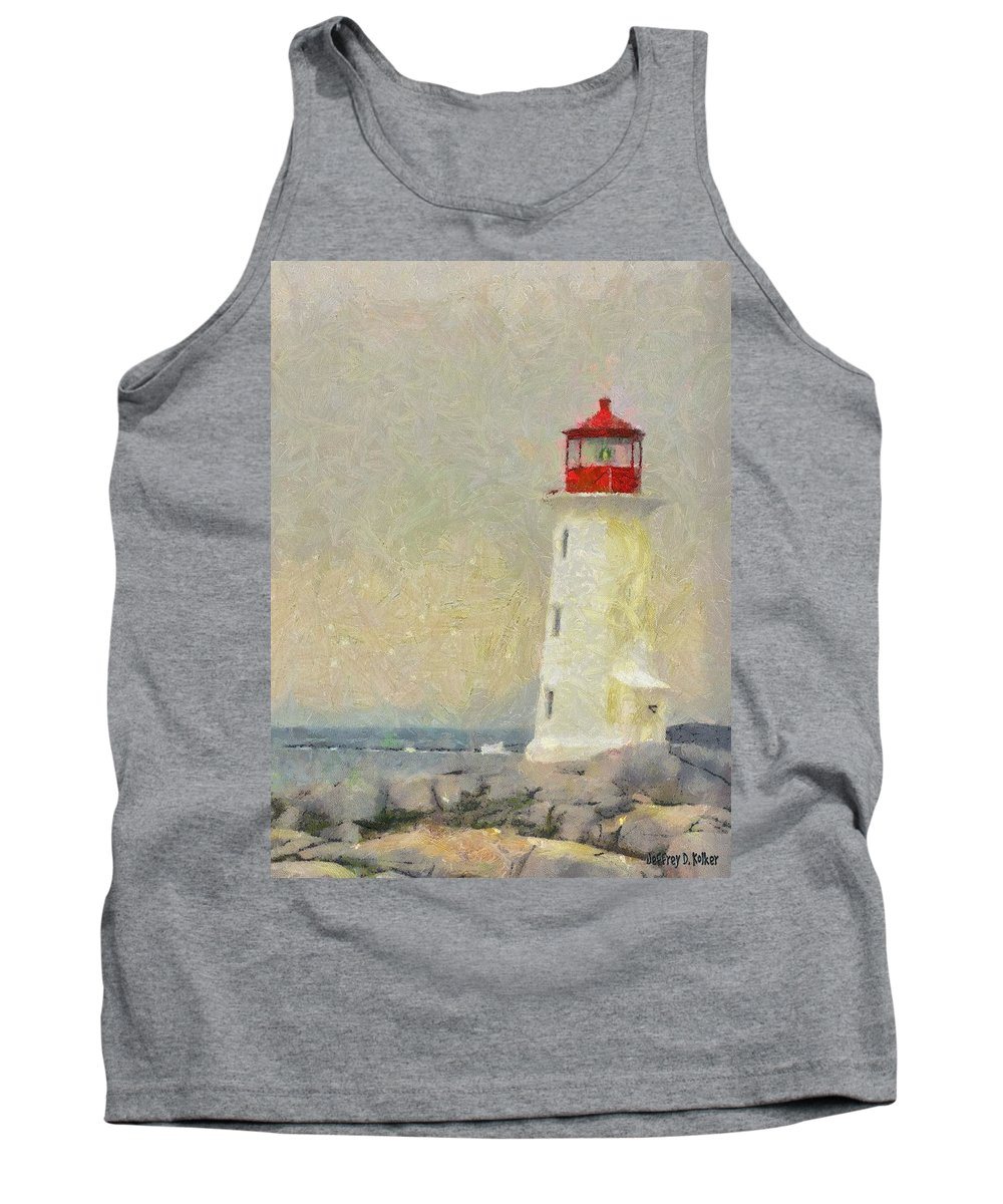 Canadian Tank Top featuring the painting Lighthouse by Jeffrey Kolker
