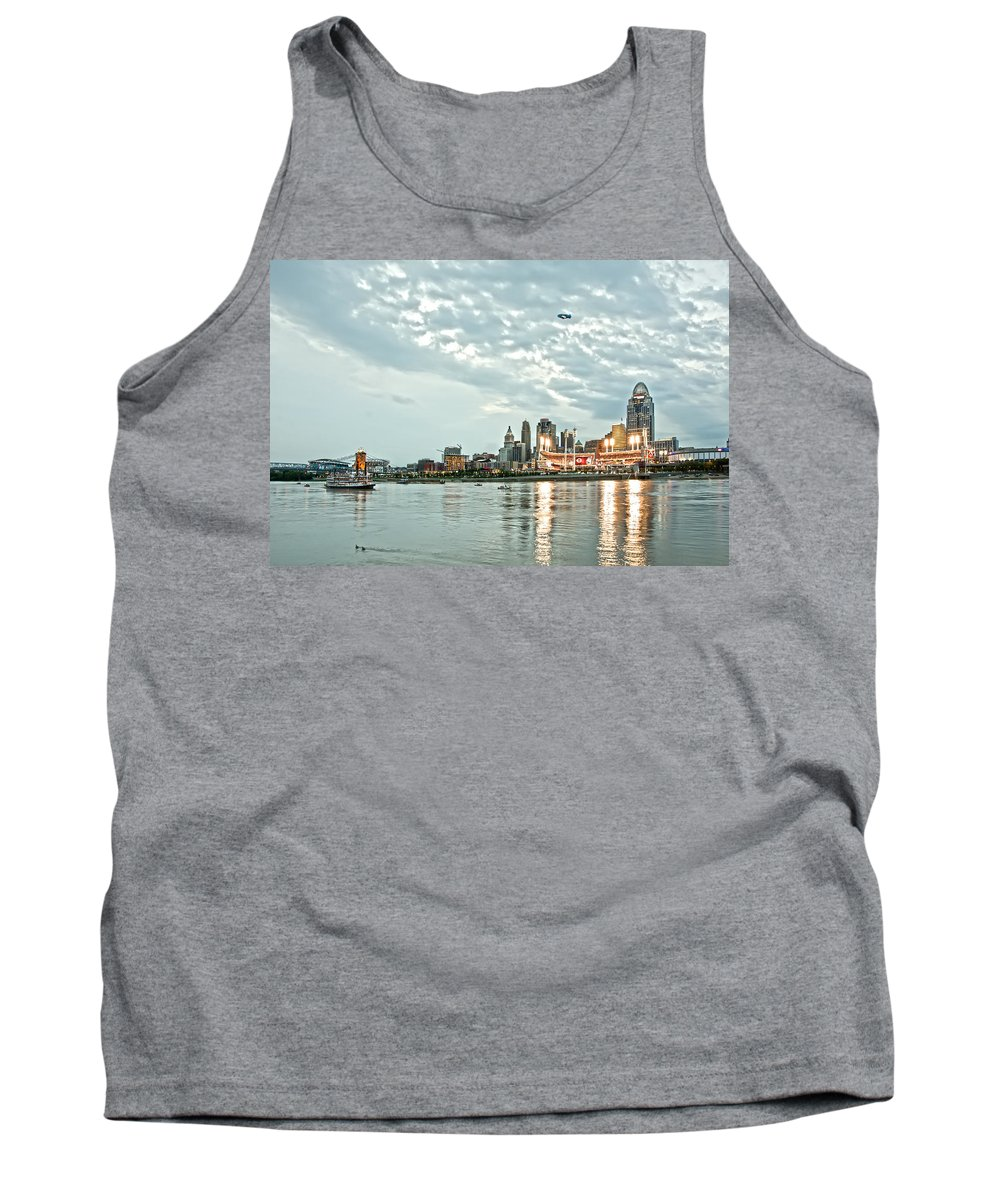 Allstars Game Tank Top featuring the photograph Lights Of Reds Game by Randall Branham