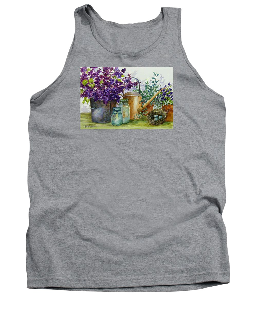 Still Life;lilacs; Ball Jars; Watering Can;bird Nest; Bird Eggs; Tank Top featuring the painting Lilacs And Ball Jars by Lois Mountz