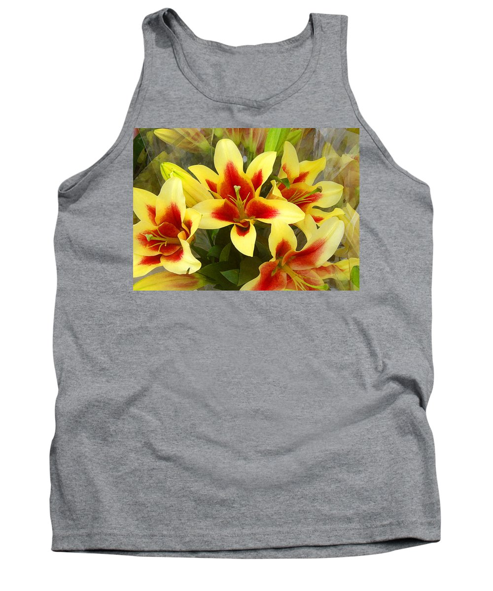 Spring Tank Top featuring the painting Lilies by Amy Vangsgard