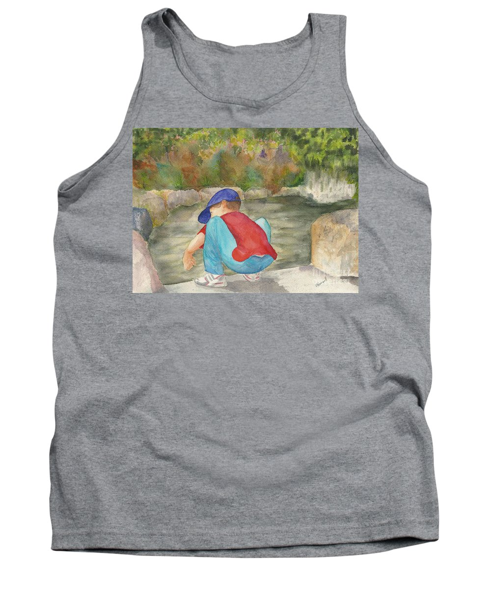 Butchard Garden Tank Top featuring the painting Little Boy At Japanese Garden by Vicki Housel