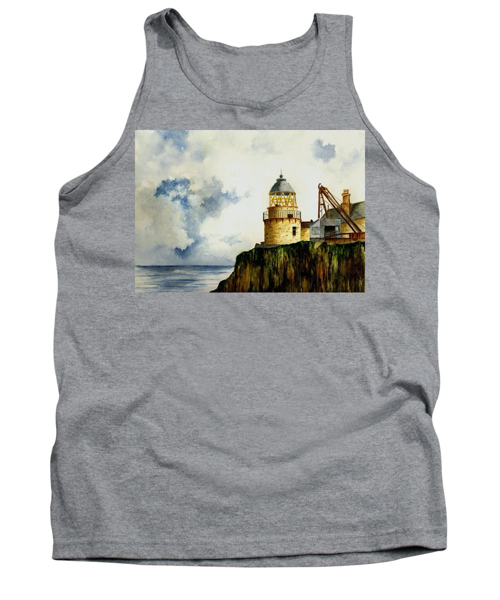Lighthouse Tank Top featuring the painting Little Cumbrae Lighthouse by Michael Vigliotti