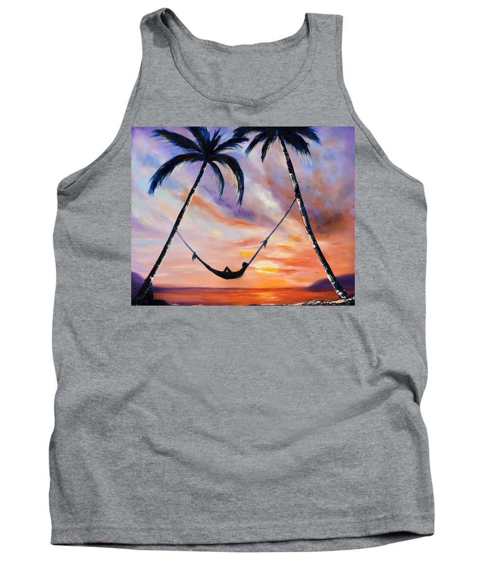 Sunset Tank Top featuring the painting Living the Dream by Gina De Gorna