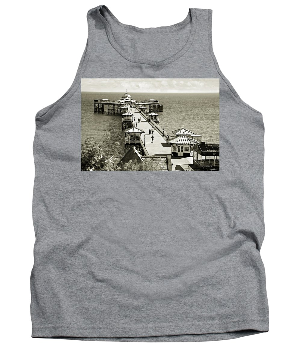 Pier Tank Top featuring the photograph Llandudno Pier North Wales Uk by Mal Bray