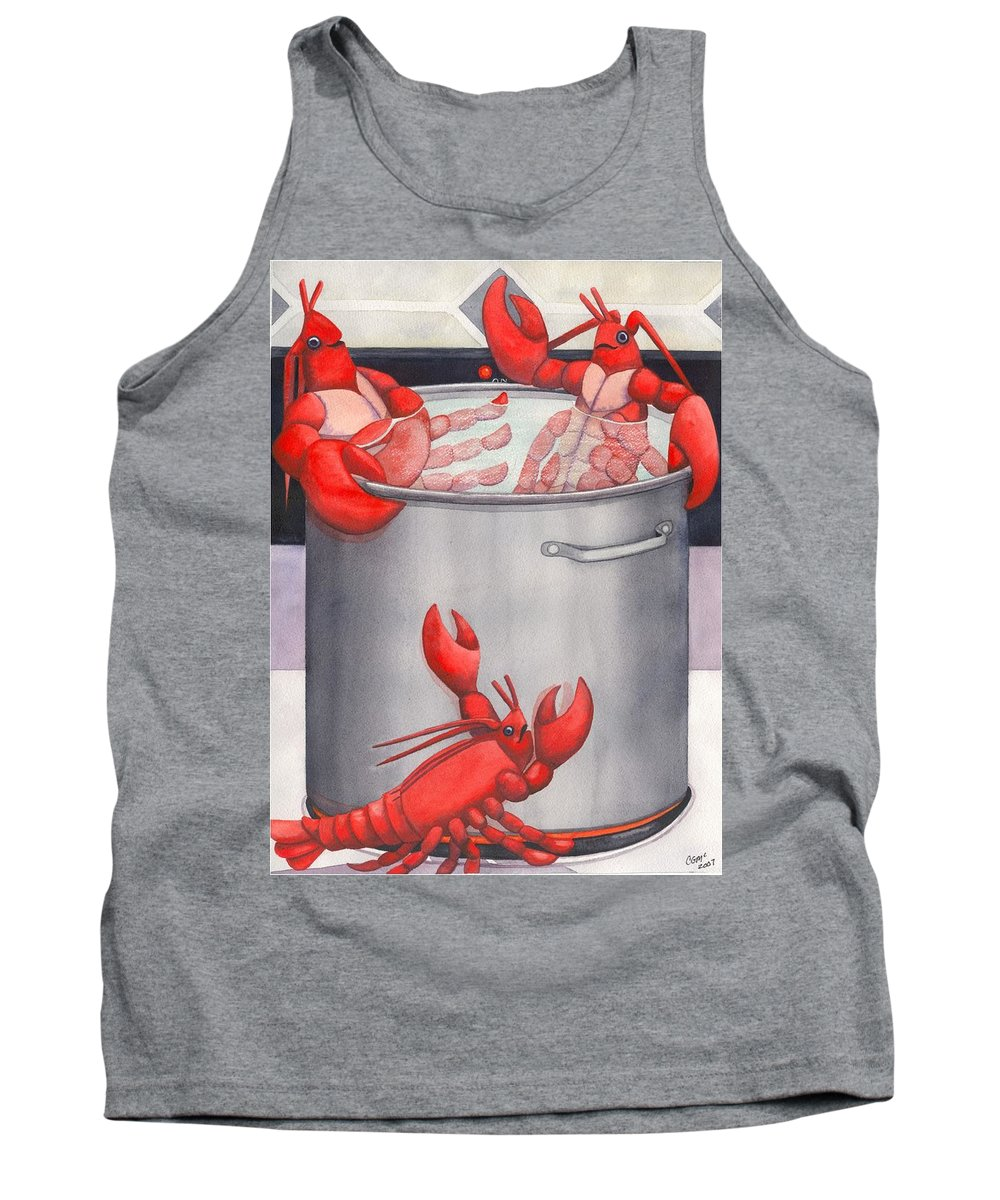 Lobsters Tank Top featuring the painting Lobster Spa by Catherine G McElroy