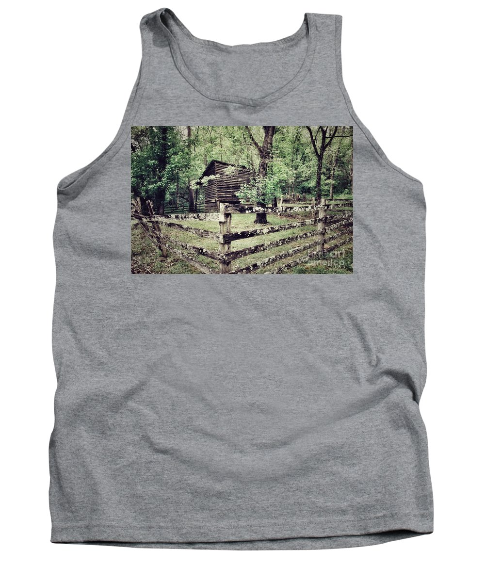 Weathered Fence Tank Top featuring the photograph Log Structure For Storage by John Myers