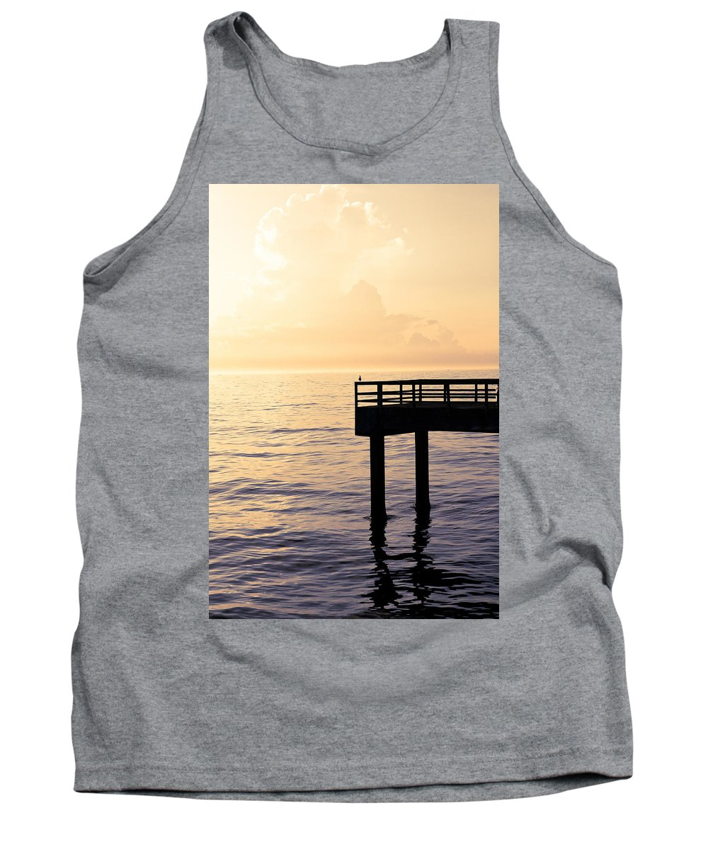 Beach Tank Top featuring the photograph Lone Bird At Morning by Marilyn Hunt