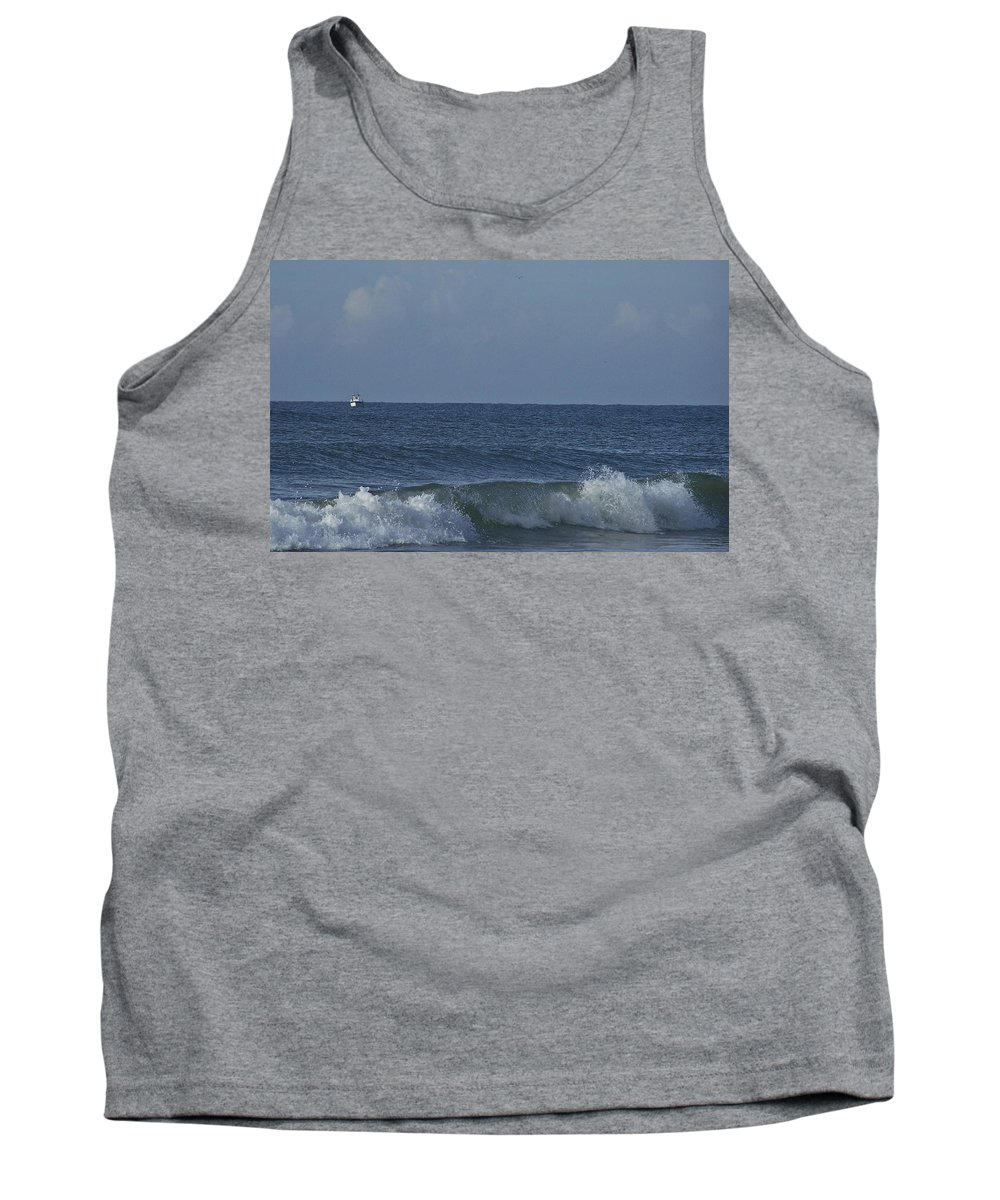 Boat Tank Top featuring the photograph Lone Boat On The Horizon by Teresa Mucha