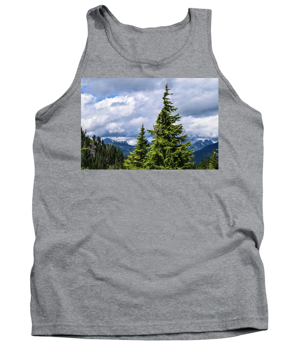 Mt. Baker Tank Top featuring the photograph Lone Fir With Clouds by Tom Cochran