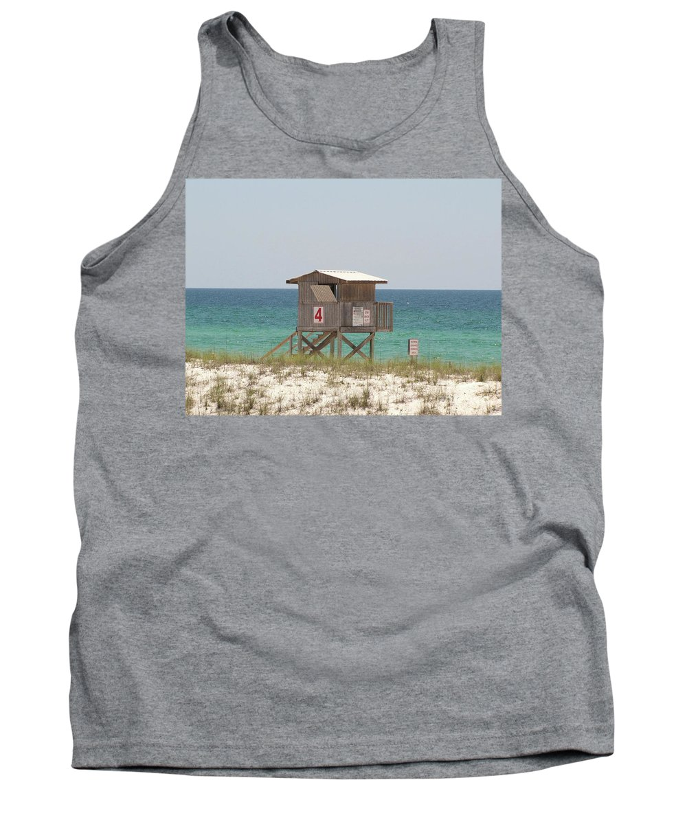 Sea Tank Top featuring the photograph Lonely Guard Shack by Michelle Powell