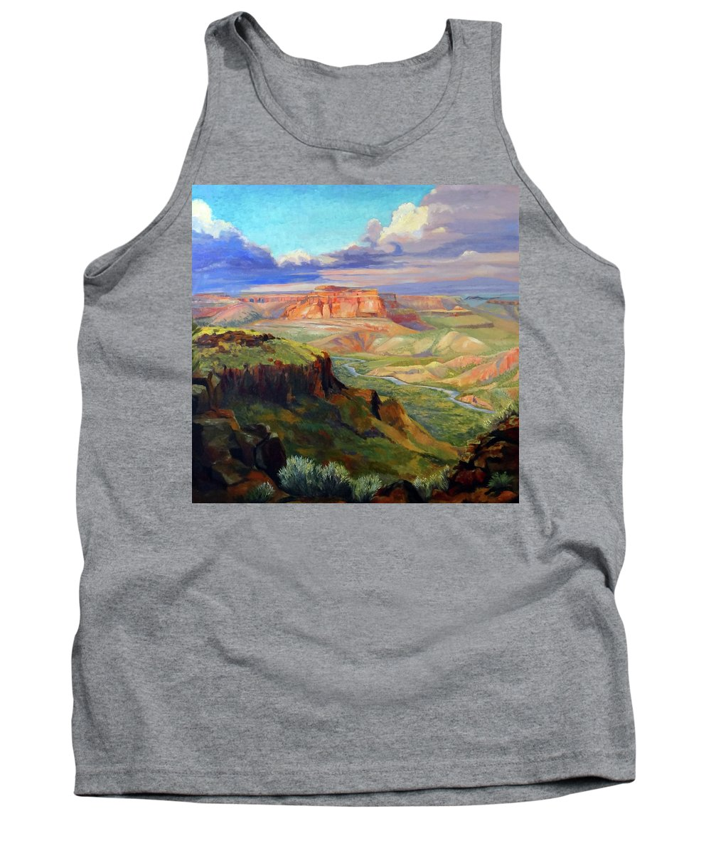 Landscape Tank Top featuring the painting Look Out At White Rock by Nancy Paris Pruden