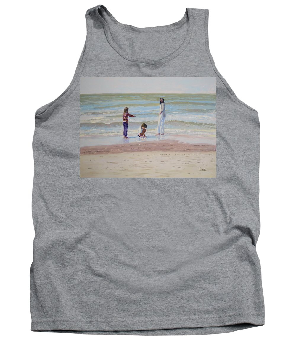 Beach Tank Top featuring the painting Look What I Found by Lea Novak