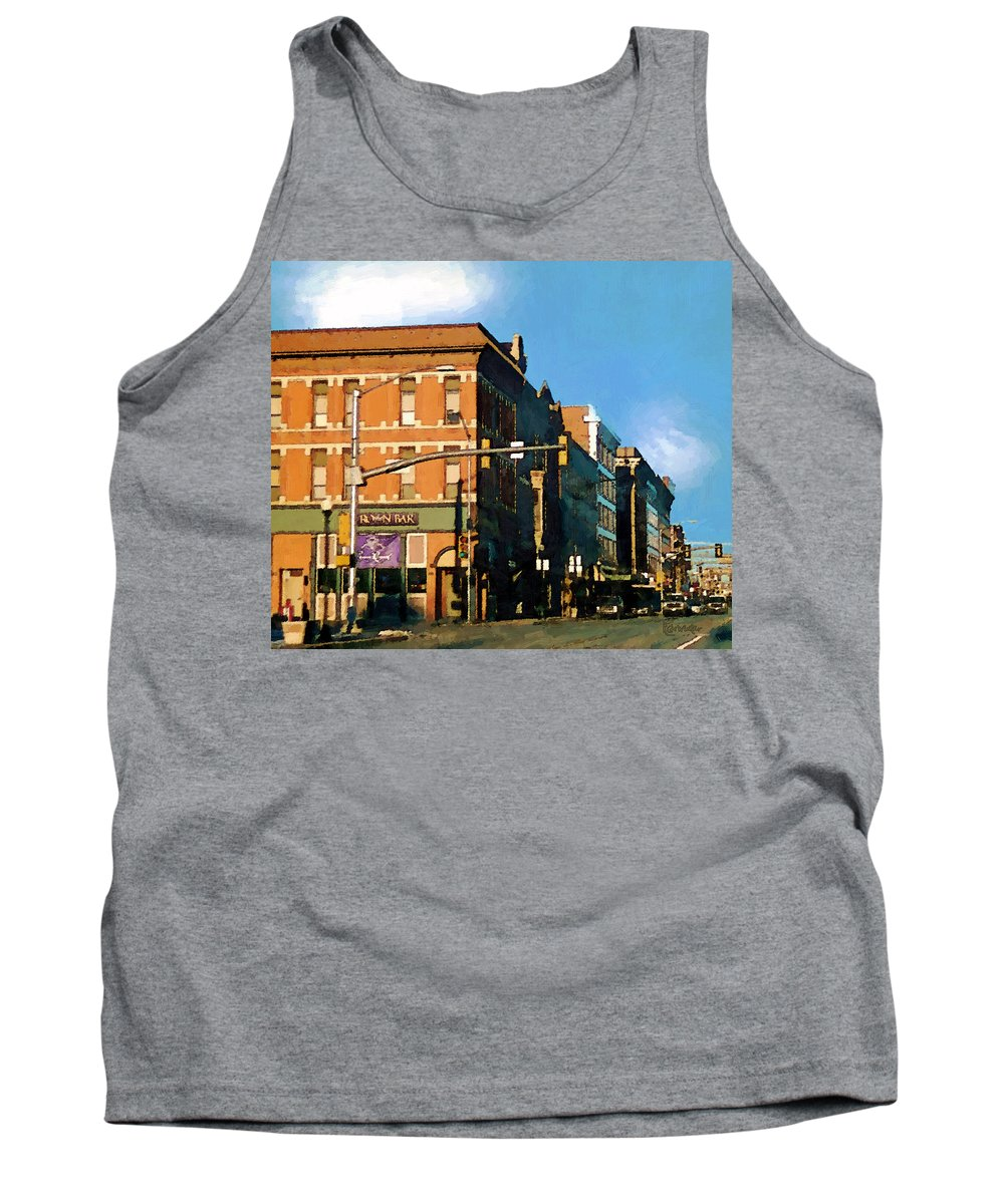 Buildings Tank Top featuring the painting Looking Up Main Street by RC DeWinter