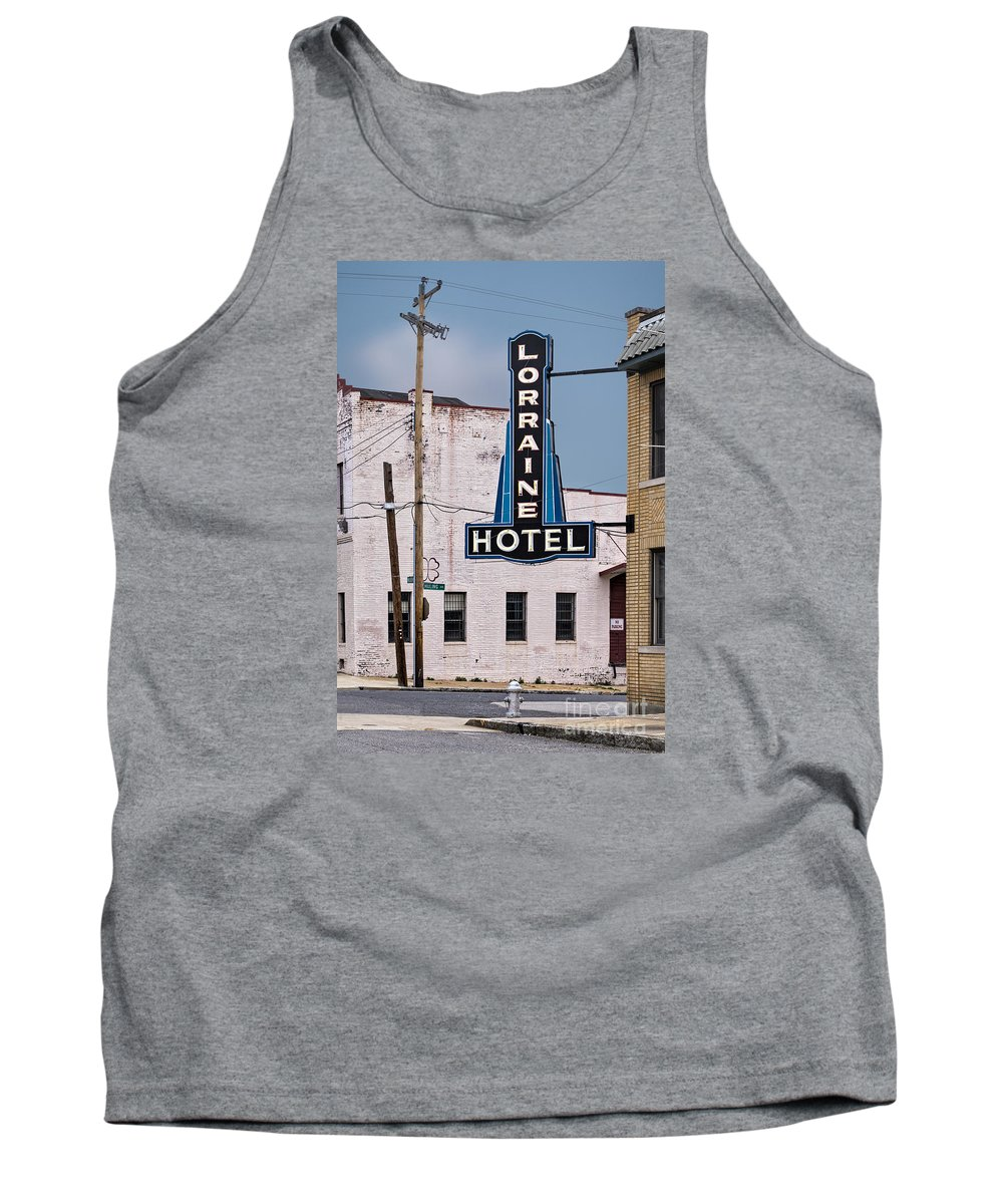 Assassinated Tank Top featuring the photograph Lorraine Hotel Sign by Jerry Fornarotto