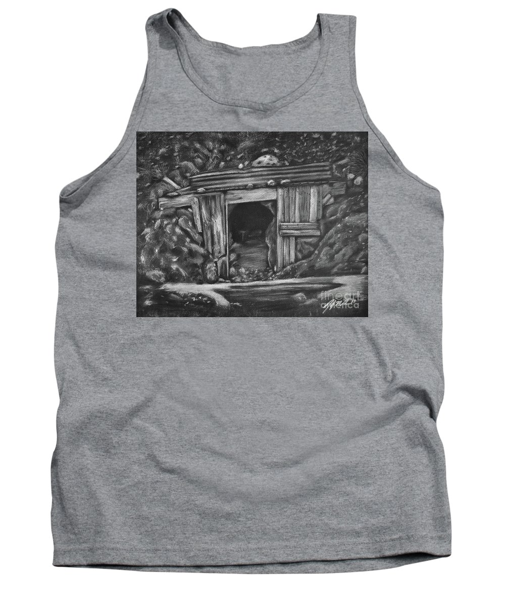 Mining Town Tank Top featuring the drawing Lost Burro Mine Death Valley by Jennifer Gerke