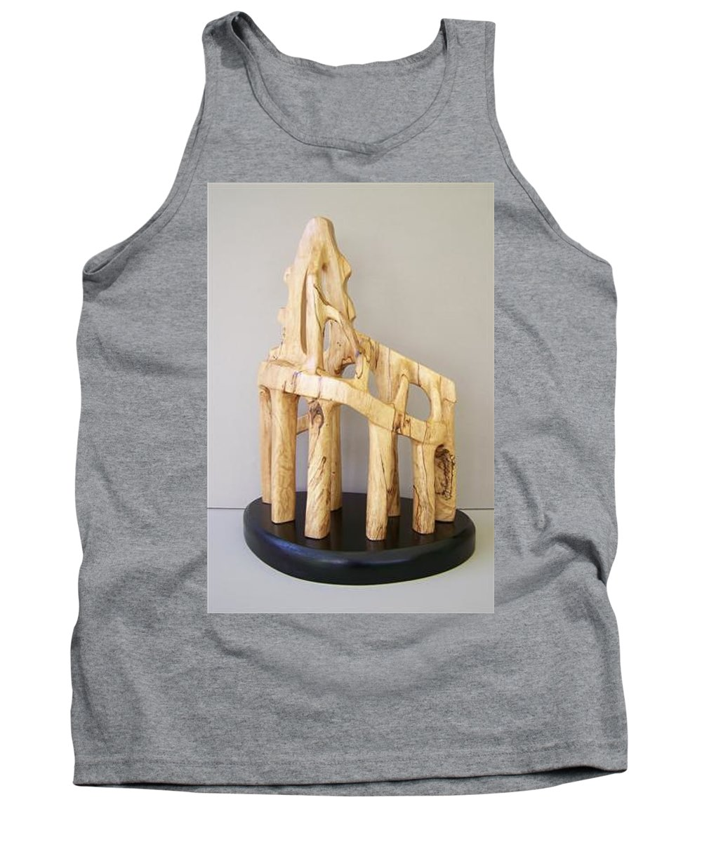 Wood-carving-sculpture-abstract- Tank Top featuring the sculpture Lost Glory by Norbert Bauwens