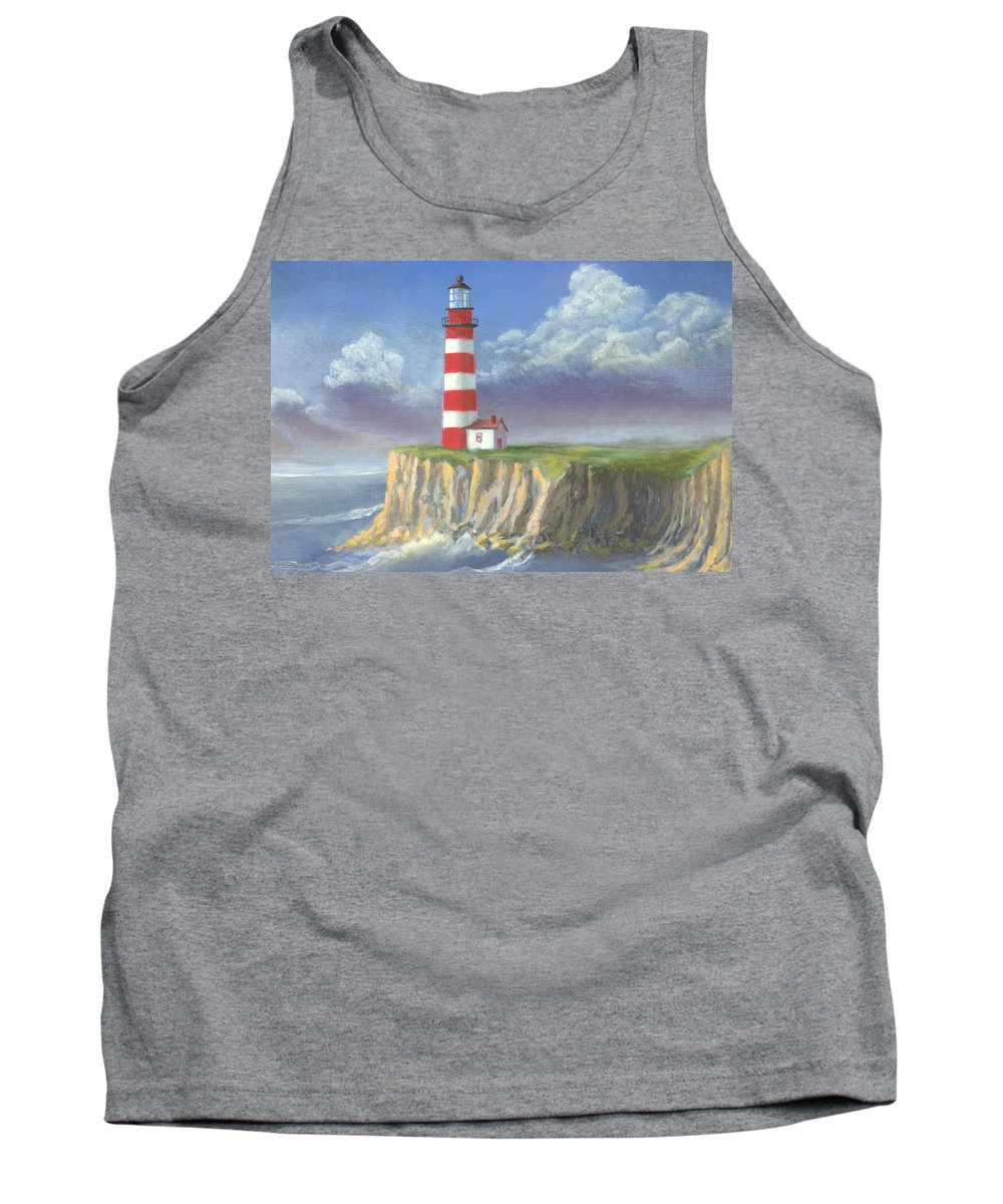 Light Tank Top featuring the painting Lost Point Light by Jerry McElroy