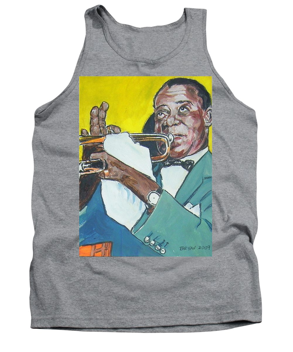 Louis Armstrong Tank Top featuring the painting Louis Armstrong by Bryan Bustard
