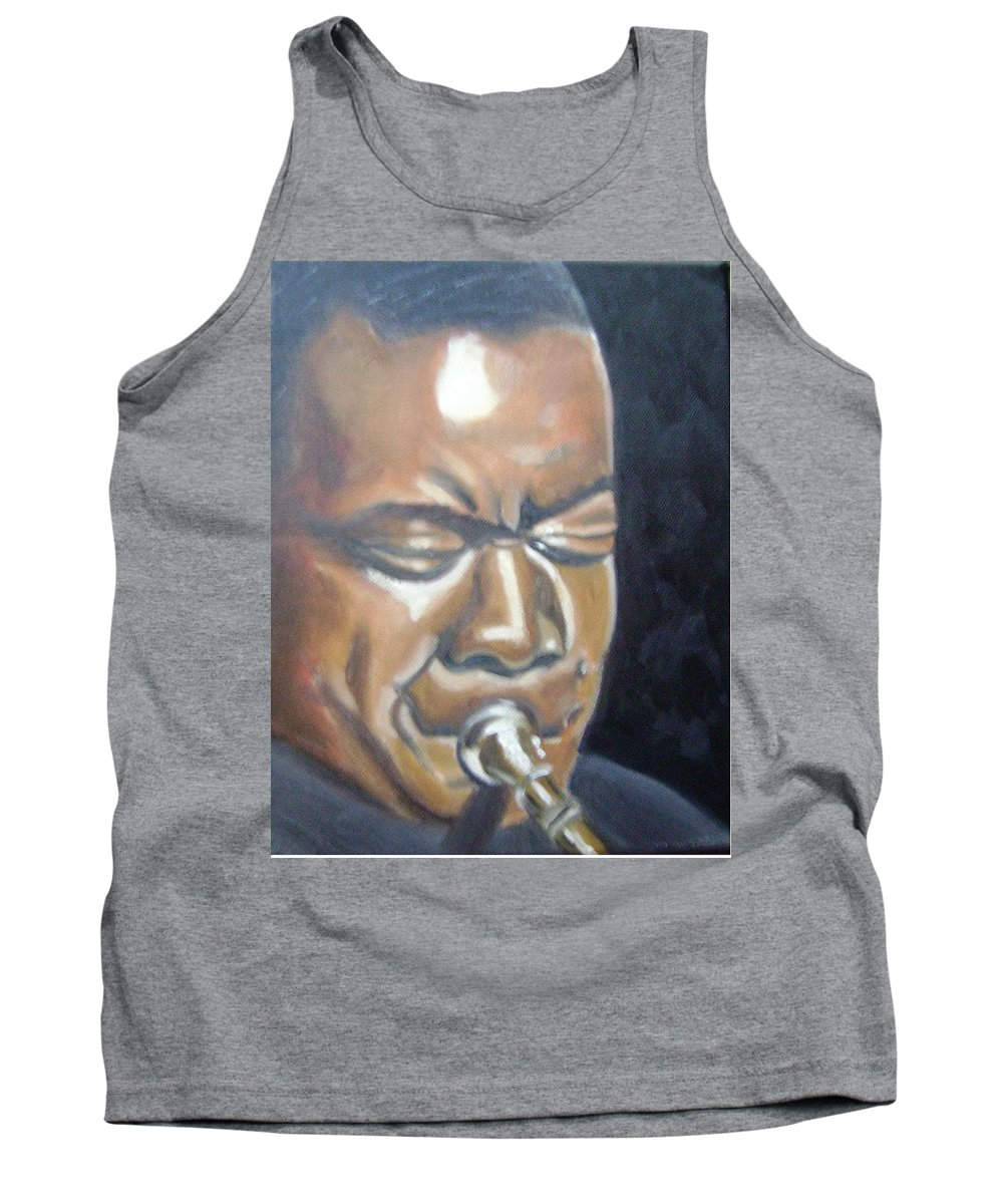 Louis Armstrong Tank Top featuring the painting Louis Armstrong by Toni Berry