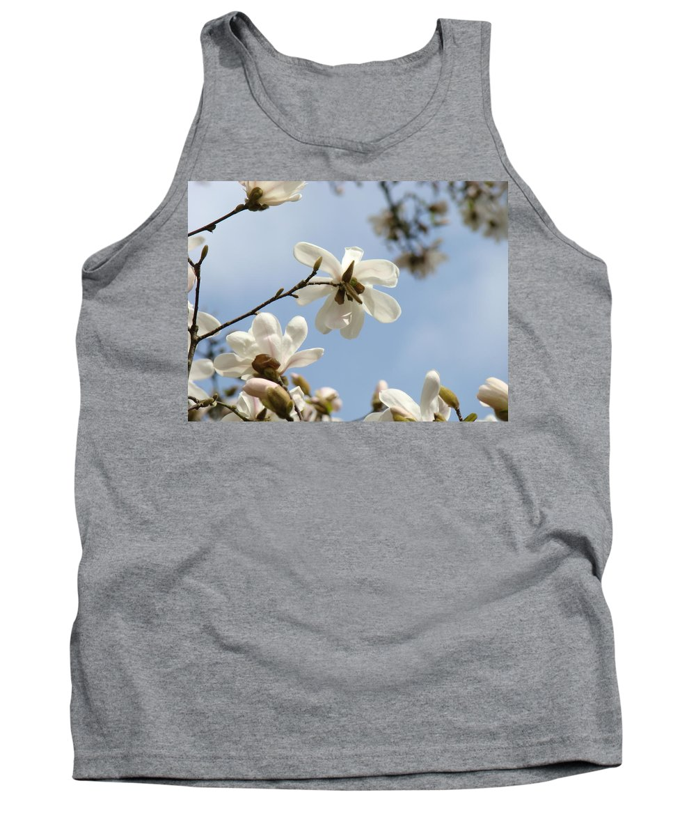 Magnolia Tank Top featuring the photograph Magnolia Flowers White Magnolia Tree Art 2 Blue Sky Giclee Prints Baslee Troutman by Baslee Troutman