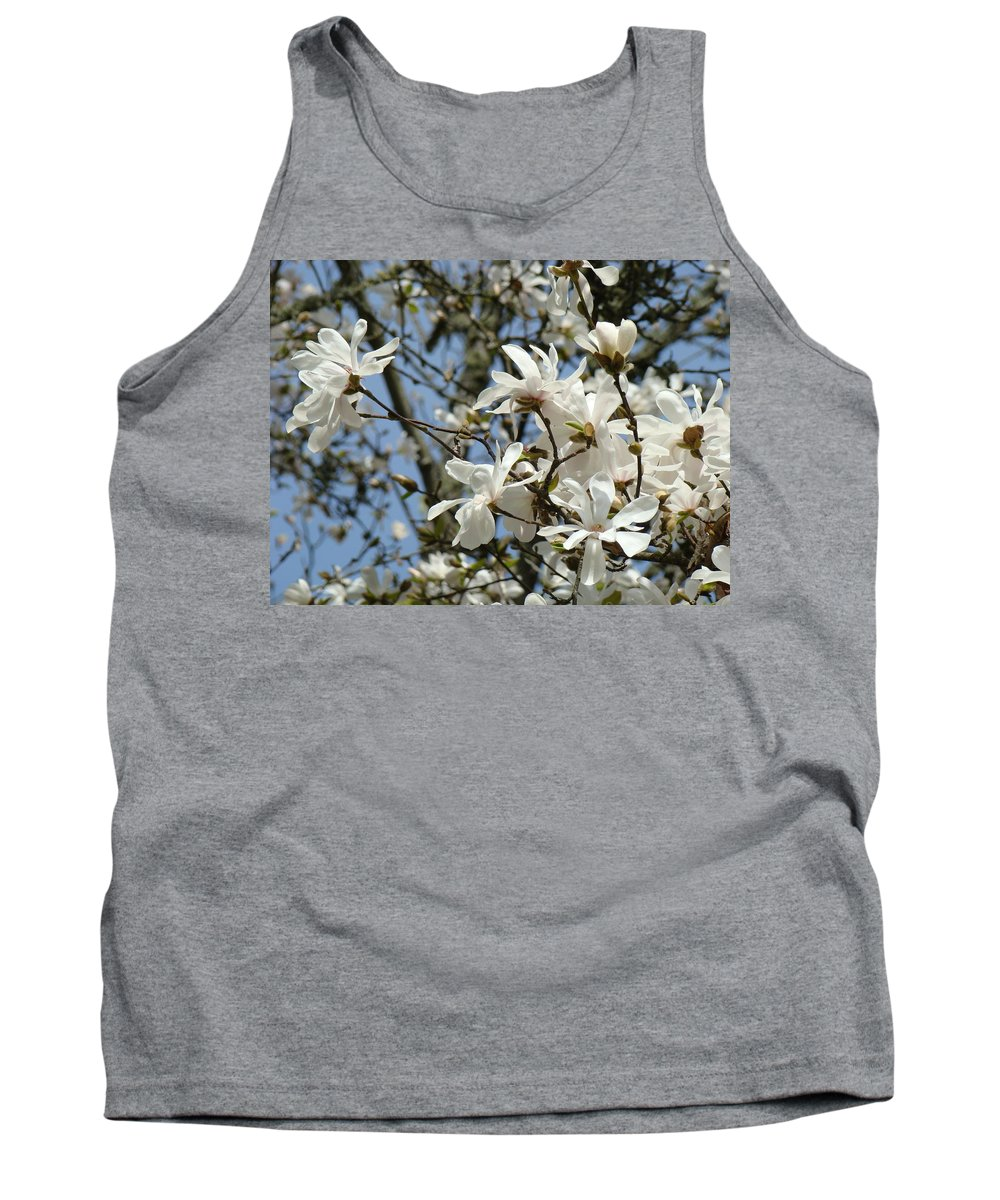 Magnolia Tank Top featuring the photograph Magnolia Flowers White Magnolia Tree Flowers Art Prints by Baslee Troutman
