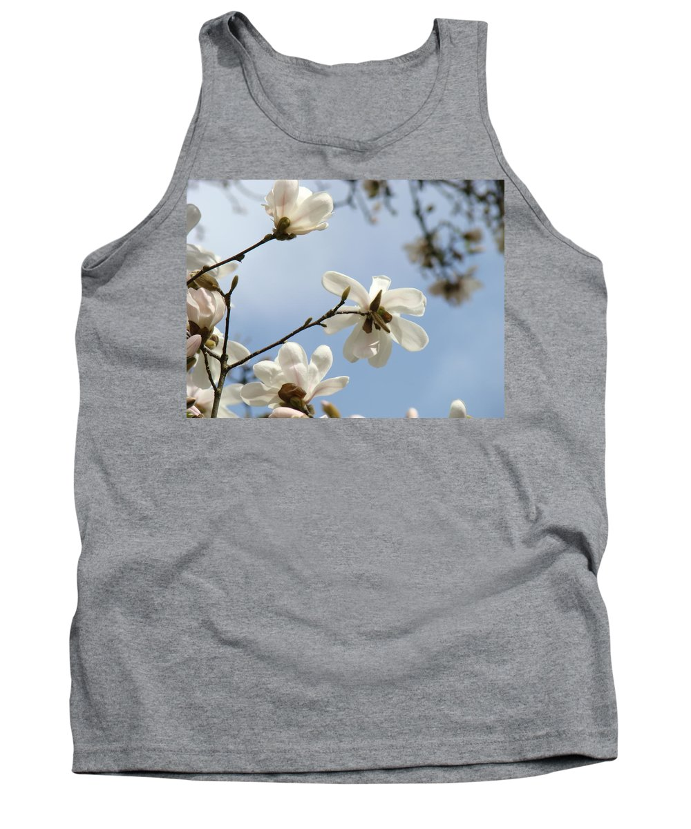 Magnolia Tank Top featuring the photograph Magnolia Flowers White Magnolia Tree Spring Flowers Artwork Blue Sky by Baslee Troutman