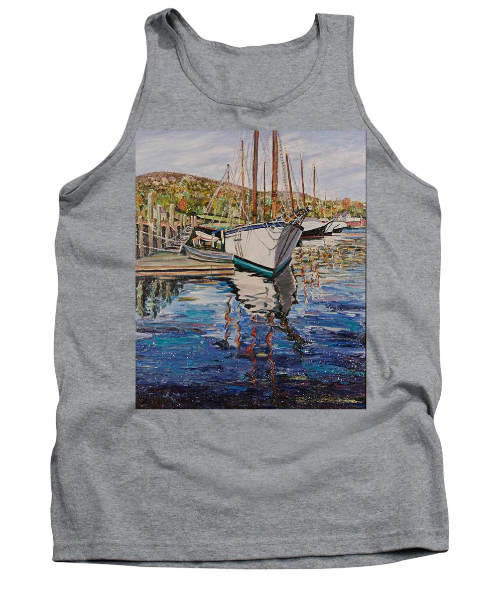 Maine Tank Top featuring the painting Maine Coast Boat Reflections by Richard Nowak