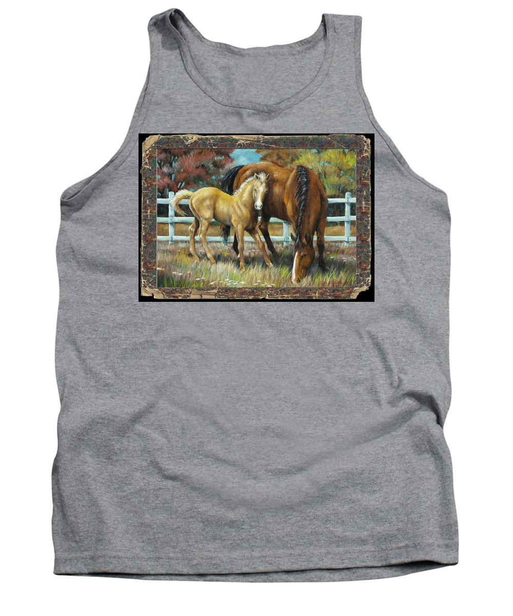 Horse Tank Top featuring the painting Mama And Jr. by Cynthia Westbrook