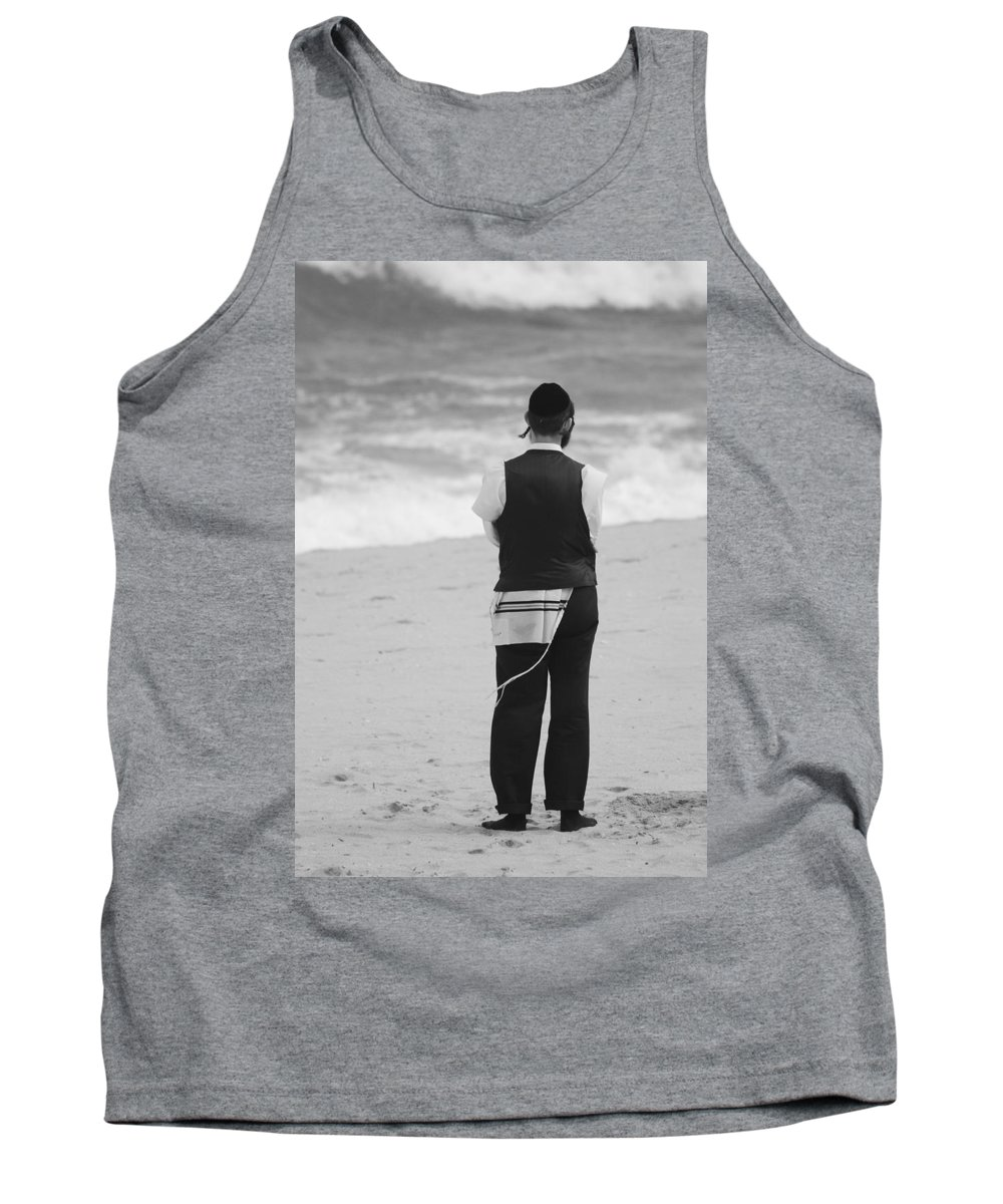 Black And White Tank Top featuring the photograph Man And The Sea by Rob Hans
