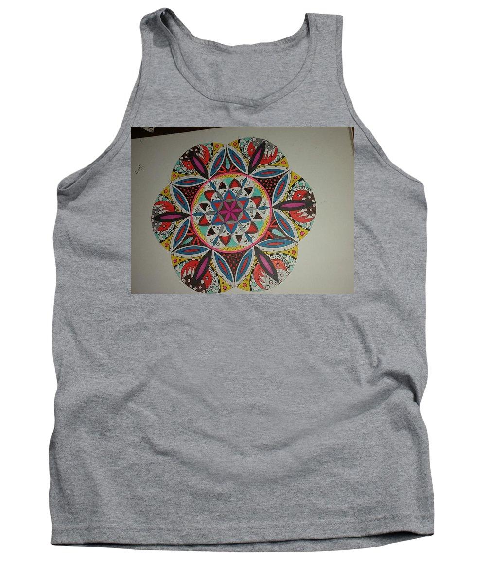 Flower Mandala Tank Top featuring the painting Mandala Art by Alban Mecaj