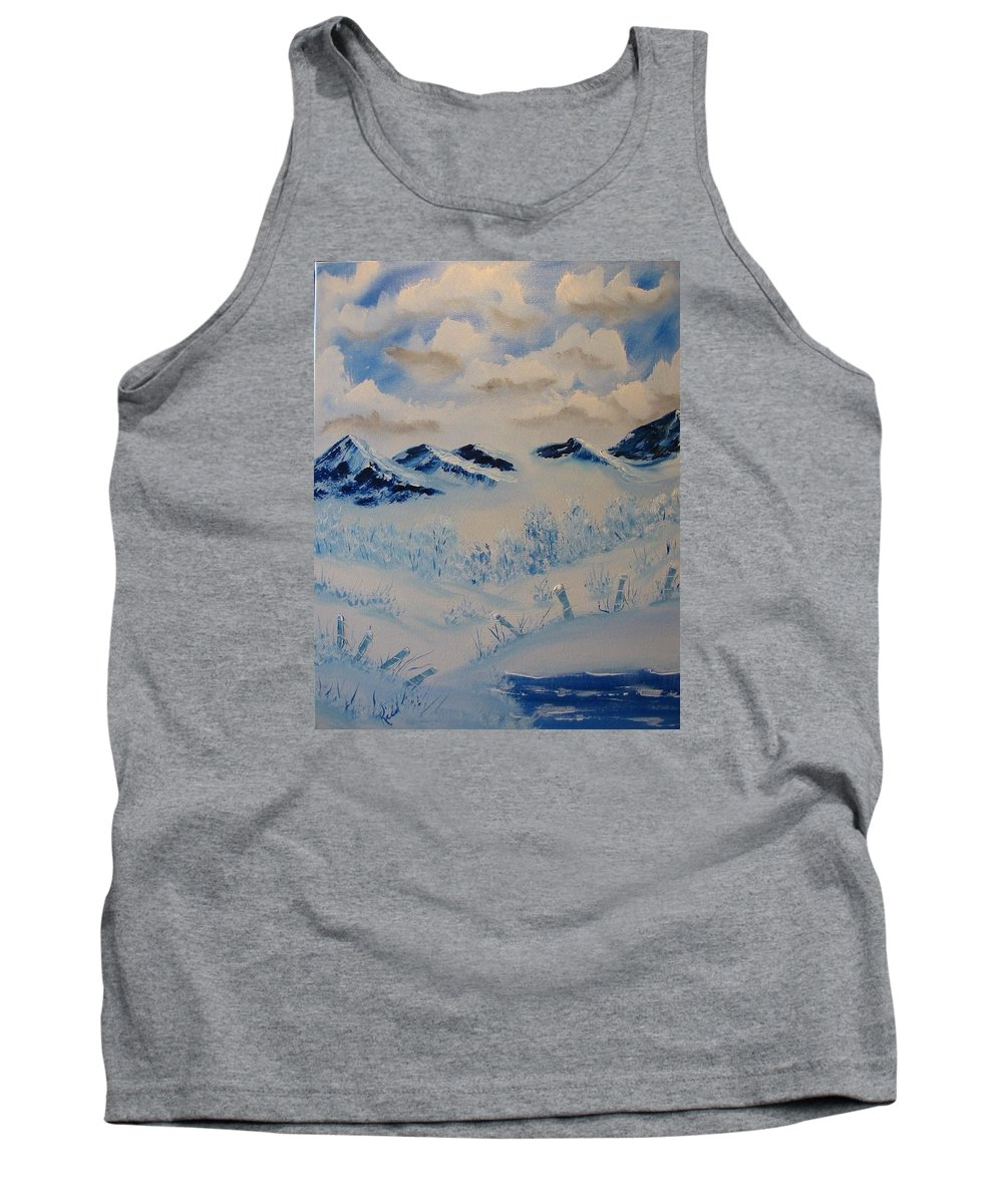 Blue Tank Top featuring the painting Many Valleys by Laurie Kidd