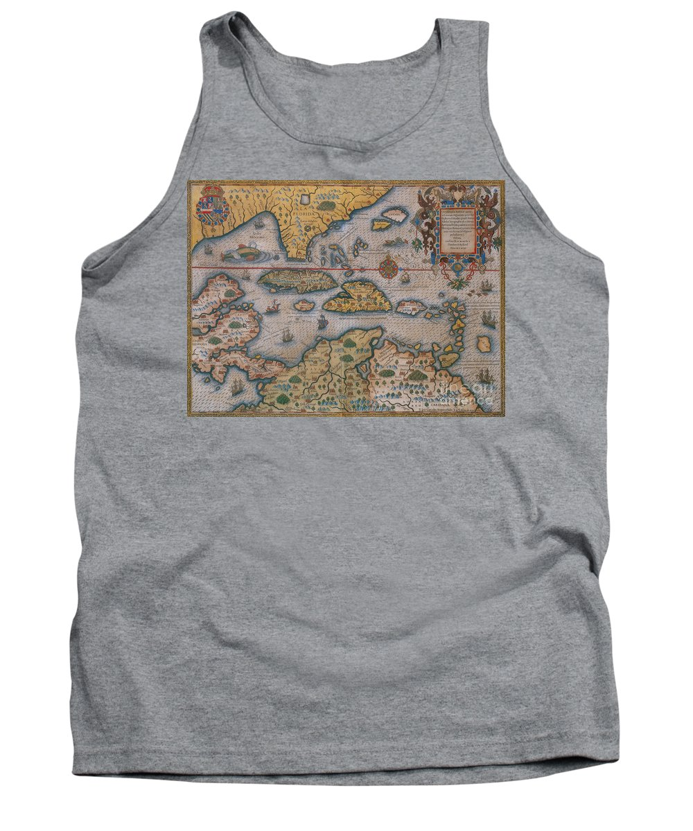 Map Tank Top featuring the photograph Map Of Gulf Of Mexico And C by Photo Researchers