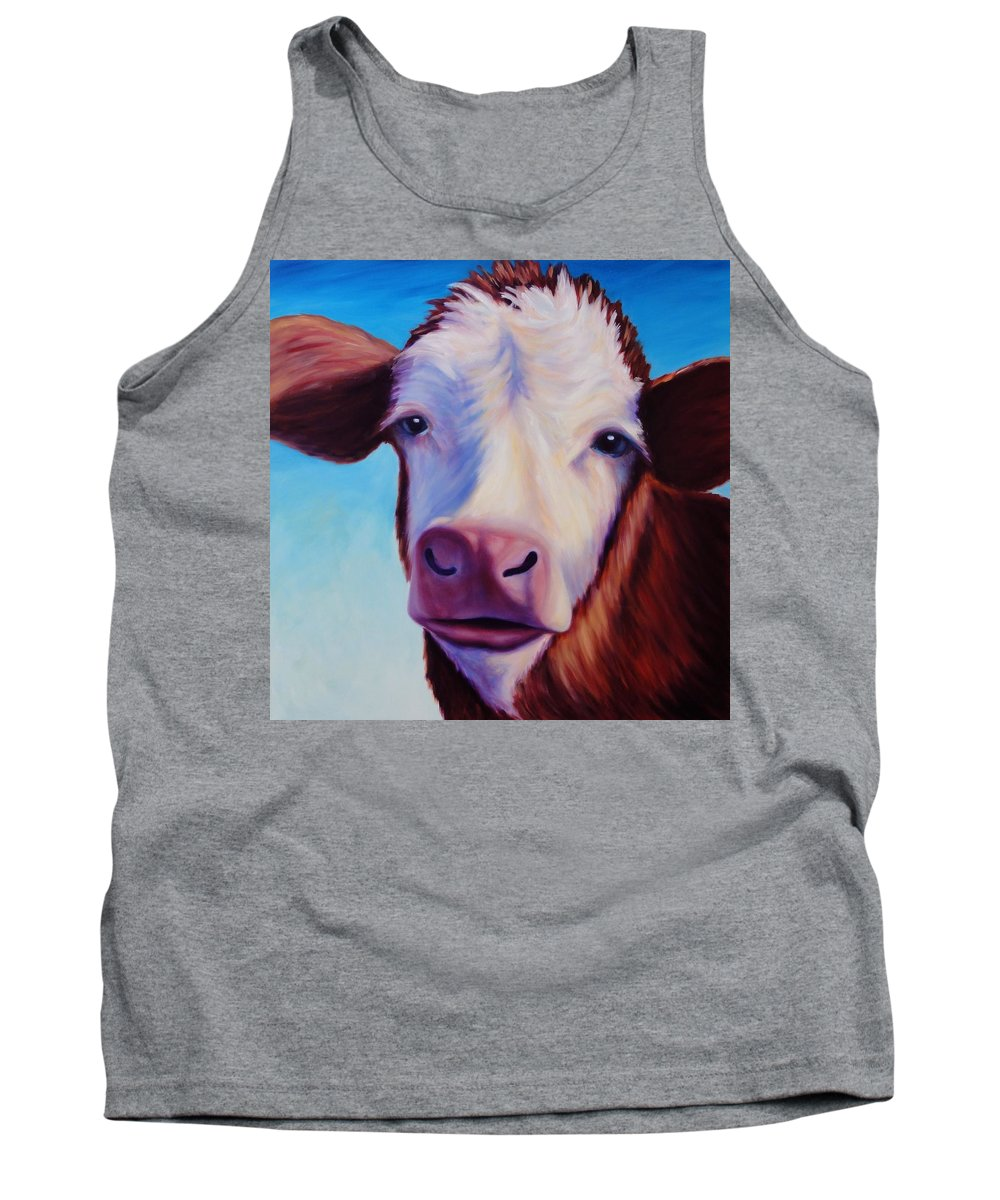 Cow Tank Top featuring the painting Marie by Shannon Grissom