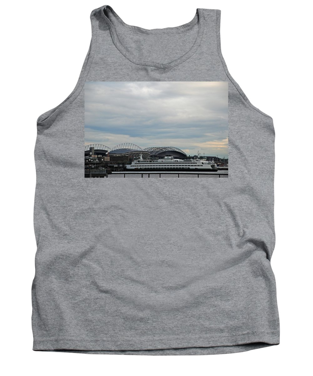 Mariners Tank Top featuring the photograph Mariners Seahawks And Ferry by Carol Eliassen