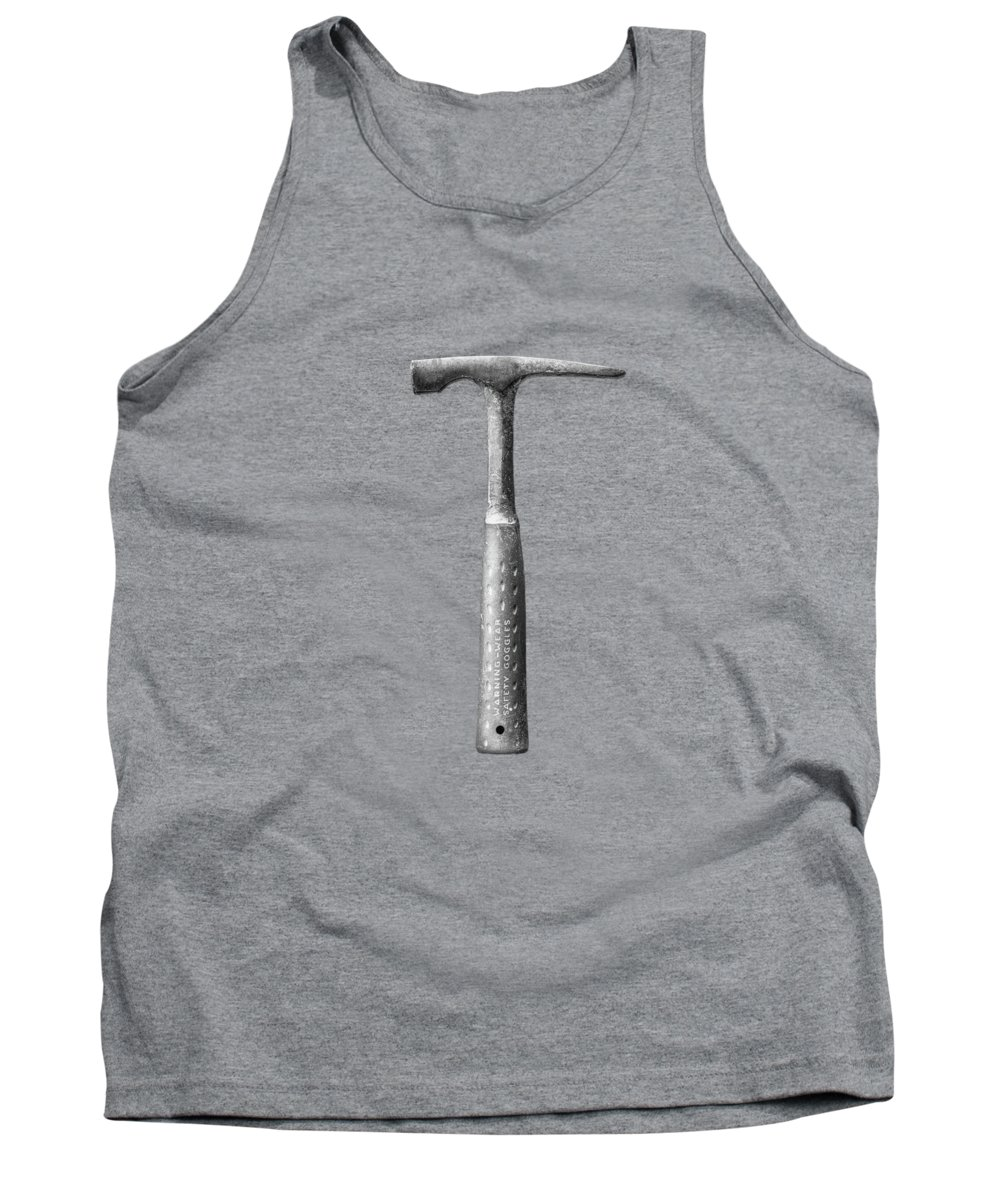Art Tank Top featuring the photograph Masonry Hammer On Plywood 63 In Bw by YoPedro