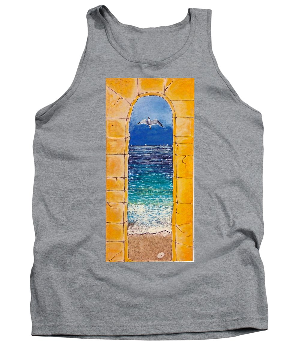 Beach Tank Top featuring the painting Mediterranean Meditation by V Boge