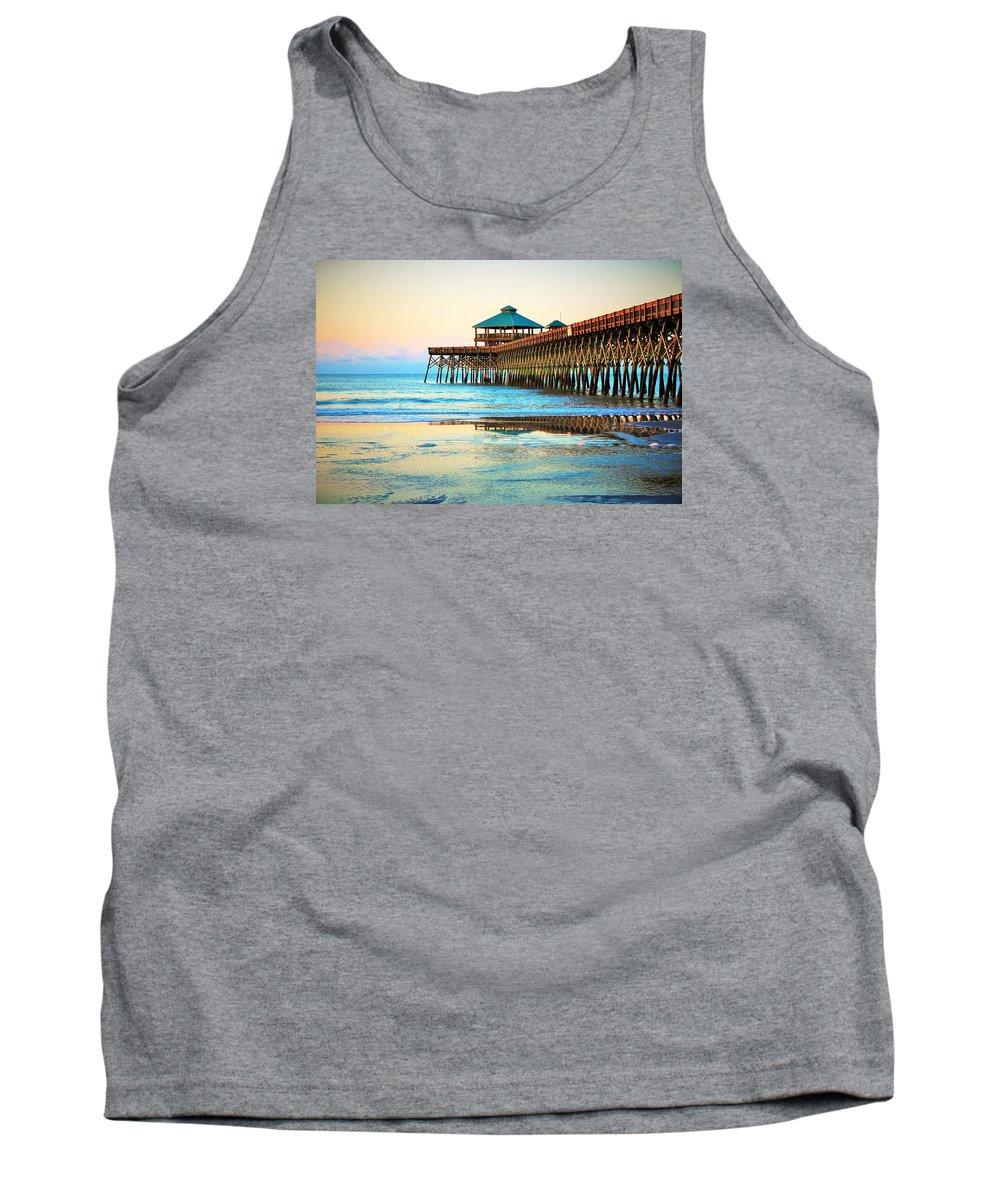 Folly Beach Tank Top featuring the photograph Meet You At The Pier - Folly Beach Pier by Sandra Bennett