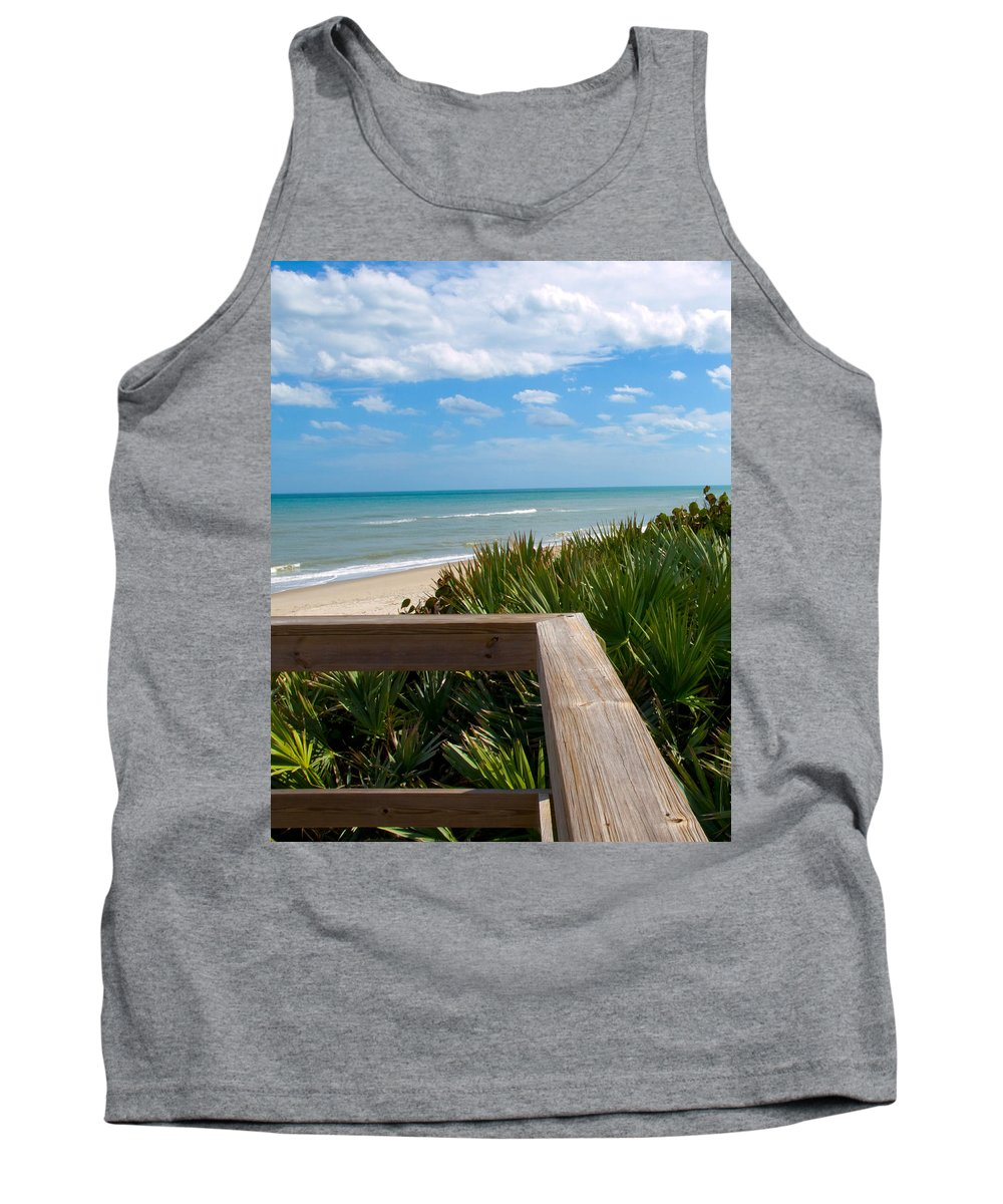 Beach; February; Florida; Warm; Warmth; Temperature; Degrees; Weather; Sun; Melbourne; Sand; Shore; Tank Top featuring the photograph Melbourne Beach In Florida by Allan Hughes