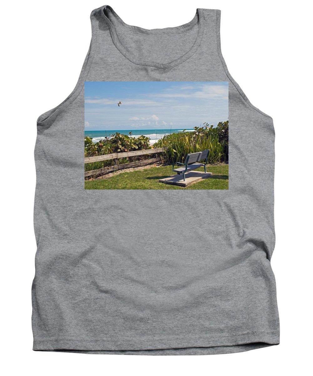 Bench; Public; Florida; Melbourne; Beach; Coast; Shore; Surf; Sand; Brevard; Space; Ocean; Sea; Atla Tank Top featuring the photograph Melbourne Beach In Florida Usa by Allan Hughes
