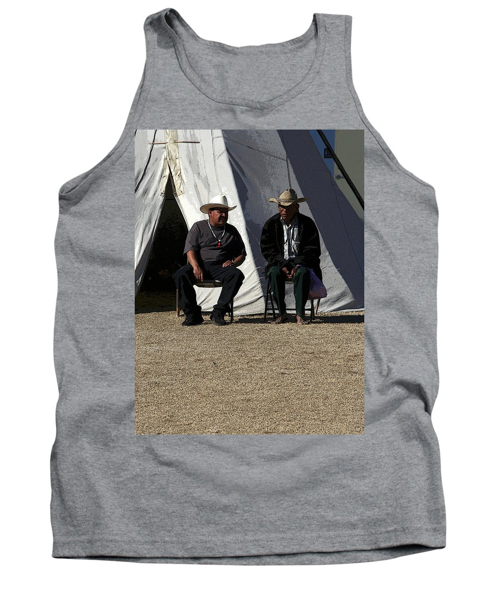 Pow Wow Tank Top featuring the photograph Men Talking by Joe Kozlowski
