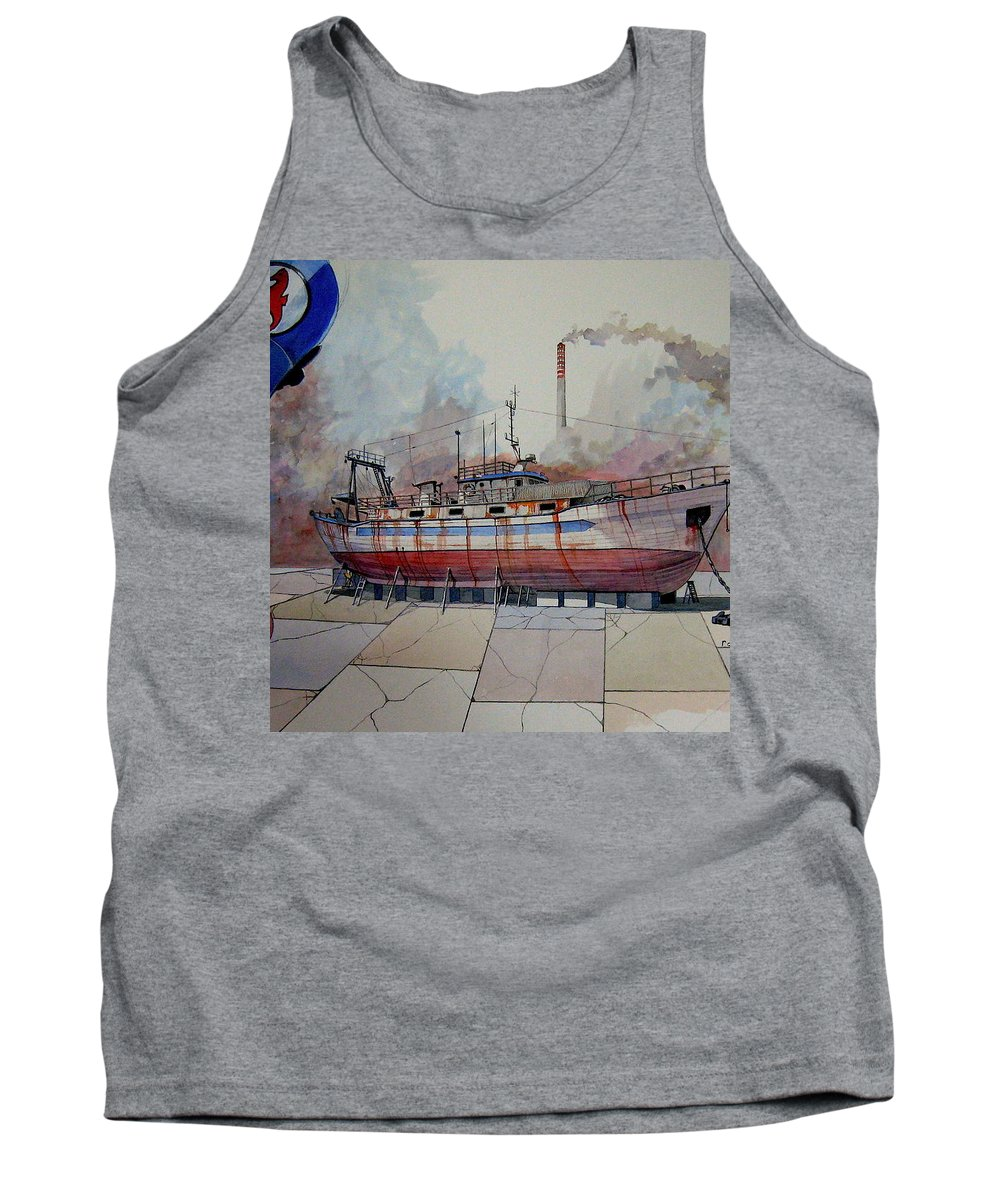 Fishing Tank Top featuring the painting Mfv Kalees by Ray Agius